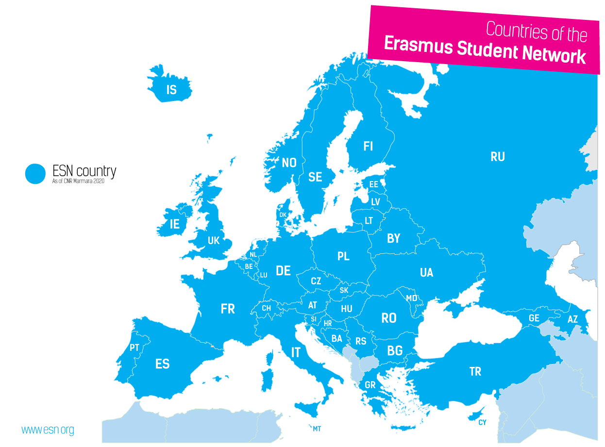Map of ESN countries