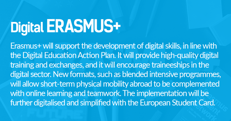 Erasmus+ will support the development of digital skills, in line with  the Digital Education Action Plan. It will provide high-quality digital  training and exchanges, and it will encourage traineeships in the  digital sector. New formats, such as blended intensive programmes,  will allow short-term physical mobility abroad to be complemented  with online learning and teamwork. The implementation will be  further digitalised and simplified with the European Student Card.