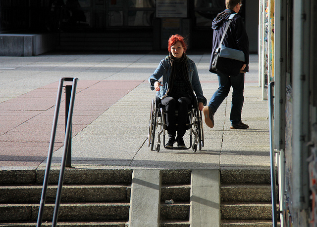 Girl on wheelchair in University premises